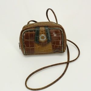 Vintage Tan & Green Accent Leather Look Purse